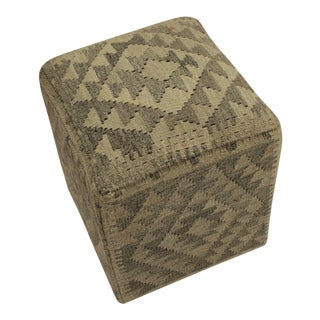Arshs Arya Emile Gray/Brown Kilim Upholstered Handmade Ottoman