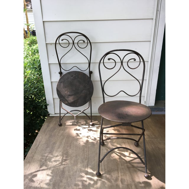 Vintage Iron Folding Chairs - A Pair - Image 6 of 6