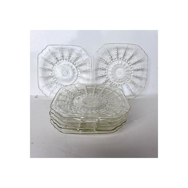 Image of Vintage Pressed Glass Dessert Plates - Set of 7