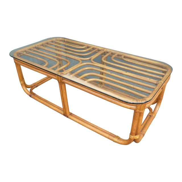 Vintage Glass Coffee Tables: Vintage Bamboo & Glass Top Coffee Table