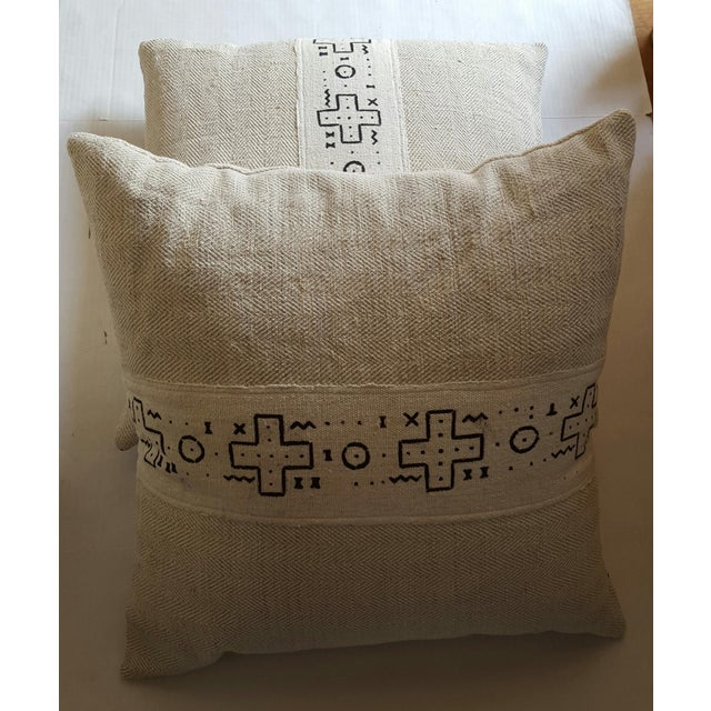 African Cream Mud Cloth Pillows - Pair - Image 4 of 4