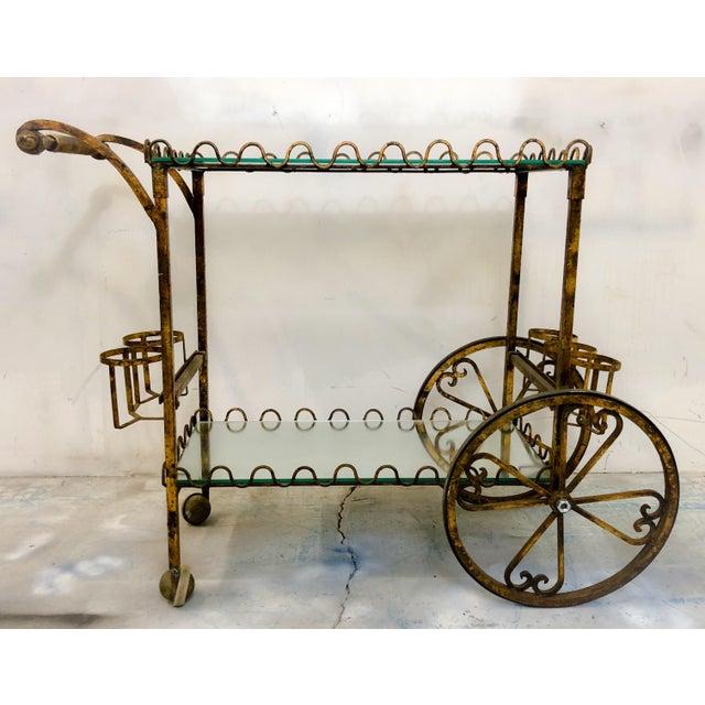Hollywood Regency Italian Gilt Metal Bar Cart - Image 6 of 6