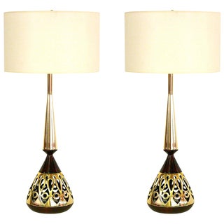 Pair of Tony Paul for Westwood Walnut and Brass Lamps