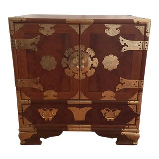 VintageAsian Wood & Brass Nightstand