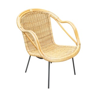 Mid-Century Wicker Shell Chair