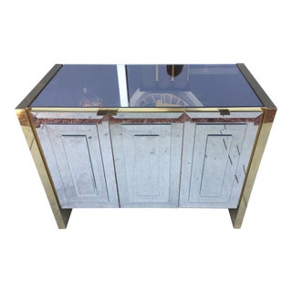 Ello Brass & Mirrored Glass Three Door Credenza