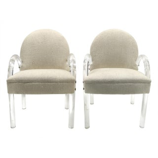 Pace Collection Upholstered Lucite Armchairs - a Pair