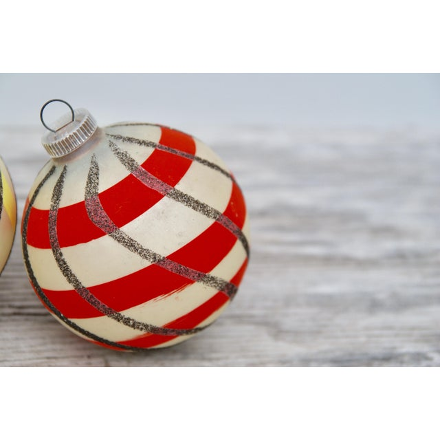 Striped West German Christmas Ornaments - Set of 5 - Image 4 of 11