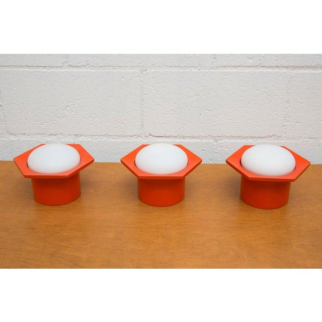 Raak Vintage '70s Hexagon Orange & Milk Glass Lamp - Image 2 of 7