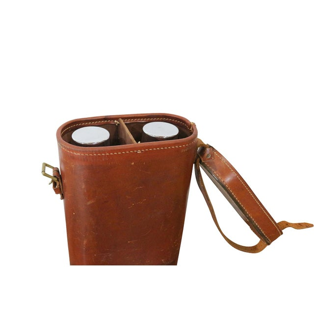 Image of 1950s Leather Case Thermos Set