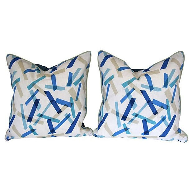 Blue and White Linen Pillows II - Pair - Image 1 of 6