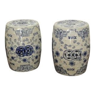 Pair of Vintage Blue and White Porcelain Chinese Garden Stools / End Tables