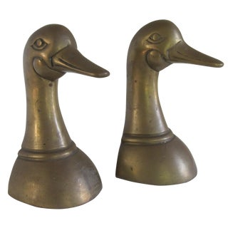 Vintage Duck Head Bookends - Pair