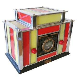 1936 Radio-Glo Machine Age Chrome and Stained Glass Radio