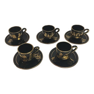 24k Greek Demitasse Cups & Saucers - Set of 10