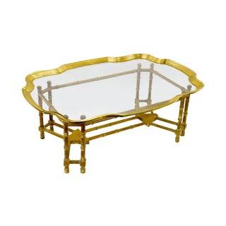 Bamboo Form Coffee Table-Brass and Glass Tray Top