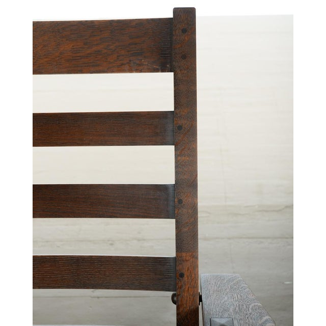 Warren Hile Studio Oak Morris Chair, Brown Leather - Image 7 of 10