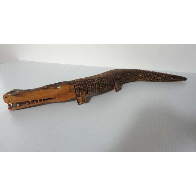 Hand Carved & Painted Articulated Folk Art Alligator - Image 6 of 7