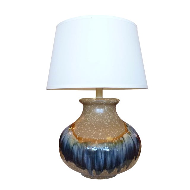 Image of Blue and Tan Drip Glaze Table Lamp