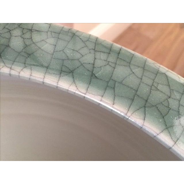 Celadon Crackle Glaze Fish Bowl Planters - Pair - Image 6 of 7