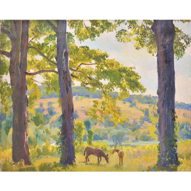 Image of Wild Horses Grazing in the Spring Painting