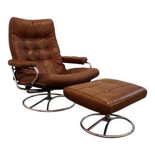 Mid-Century Danish Modern Ekornes Stressless Recliner Lounge Chair & Ottoman
