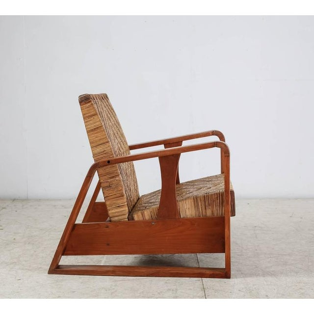 Image of French Modernist Teak and Cane Lounge Chair, 1930s