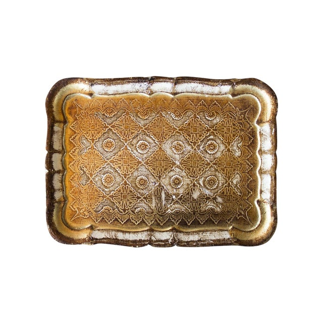 Vintage Italian Gold Pressed Tray - Image 1 of 3
