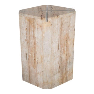 Sophisticated Mid-Century Modernist Crosslight Illuminating Travertine Pedestal