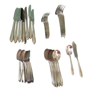 41-Piece King Edward Pattern Silverplated Flatware by National Silver - Service of 8