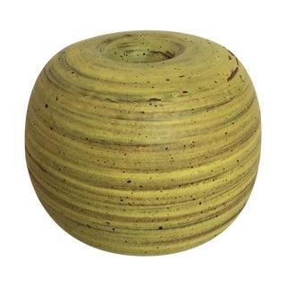 Mid Century Chartreuse Yellow Studio Pottery Vase