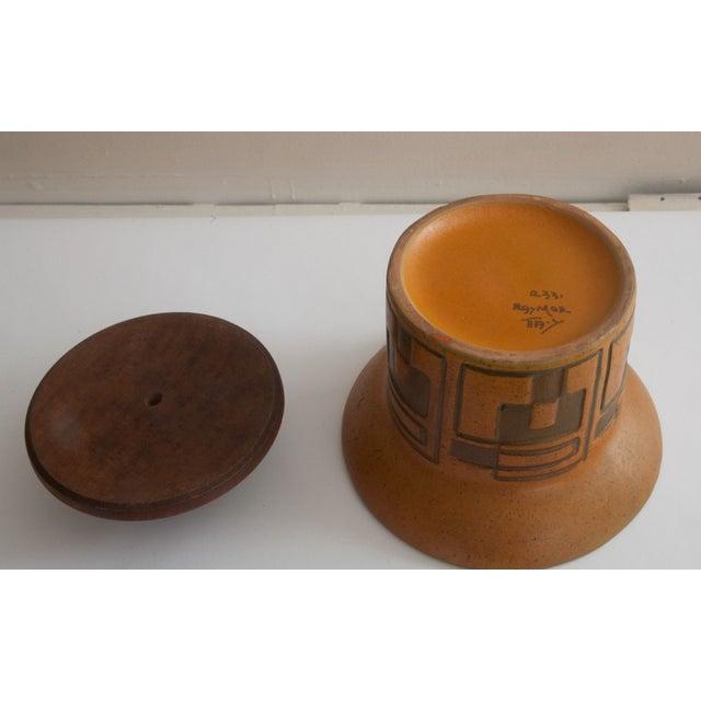 Rare Raymor Teak & Ceramic Container - Image 4 of 5