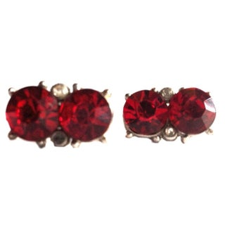 1930s Rich Red Rhinestone Clip Earrings