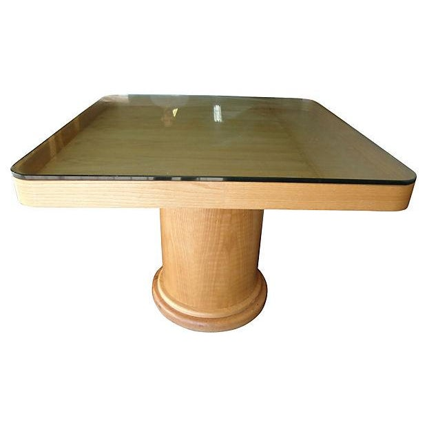 Square Wood Dining Table With Glass Top Chairish