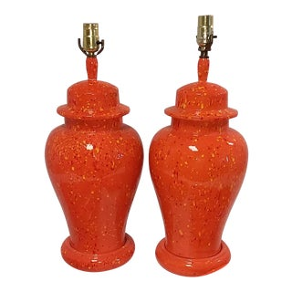 Mid-Century Asian Style Orange Ginger Jar Lamps - a Pair