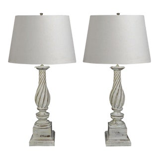 Vintage Hollywood Regency White Painted Carved Wood Column Table Lamps - A Pair