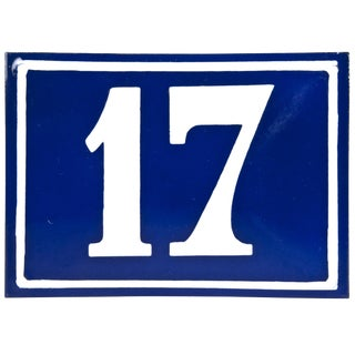 "Vintage French ""17"" Enamel House Number"