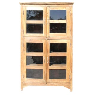 Colonial Glass Pane Teak Wood Bookcase