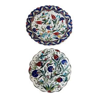 Ottoman Iznik Carnation & Tulip Pattern Plates - Pair