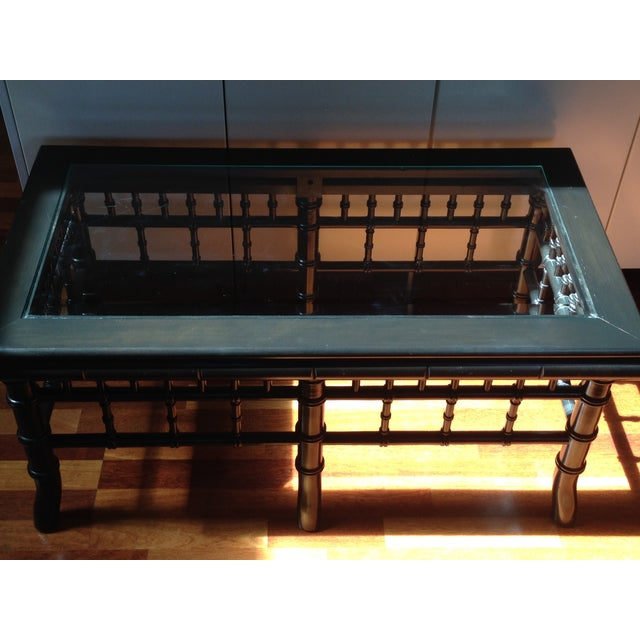 Black Faux Bamboo Coffee Table With Glass Top - Image 3 of 8