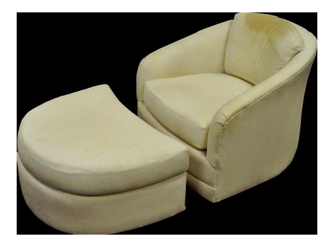 Vintage Maurice Villency Mid Century Modern Swivel Club Lounge Chair U0026  Ottoman