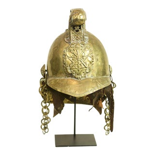 Circa 1800 French Antique Brass Fireman's Helmet