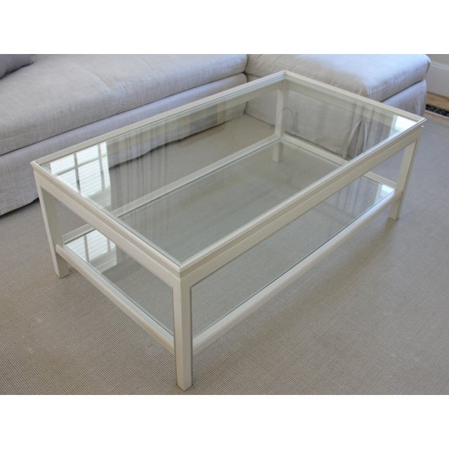 Country Swedish Painted Wood & Glass Coffee Table - Image 2 of 8