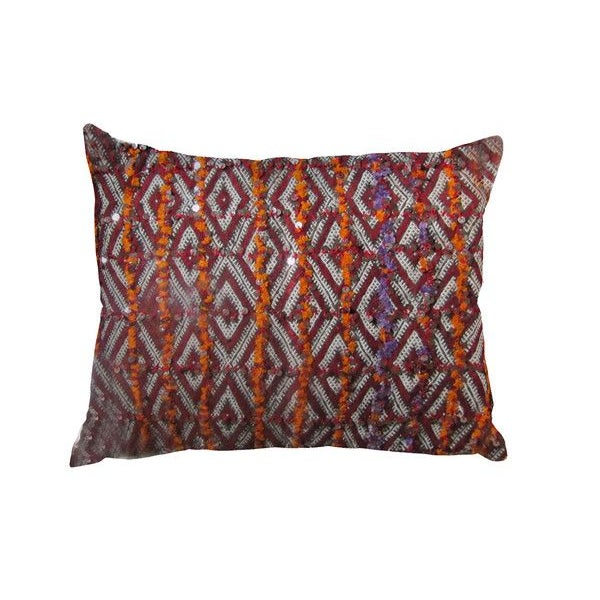 Berber Pillow with Orange Sequins - Image 1 of 2