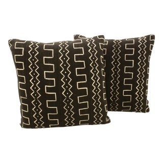 African Black Mud Cloth Pillows - A Pair