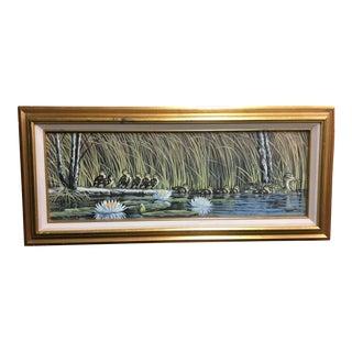 Original Duck Family Oil Painting