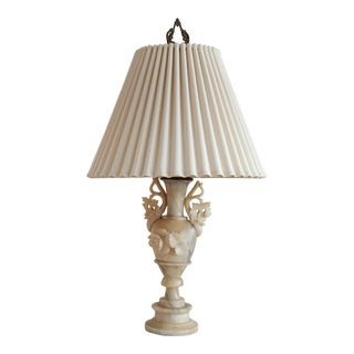 Soapstone Carved Lamp With Pleated Shade