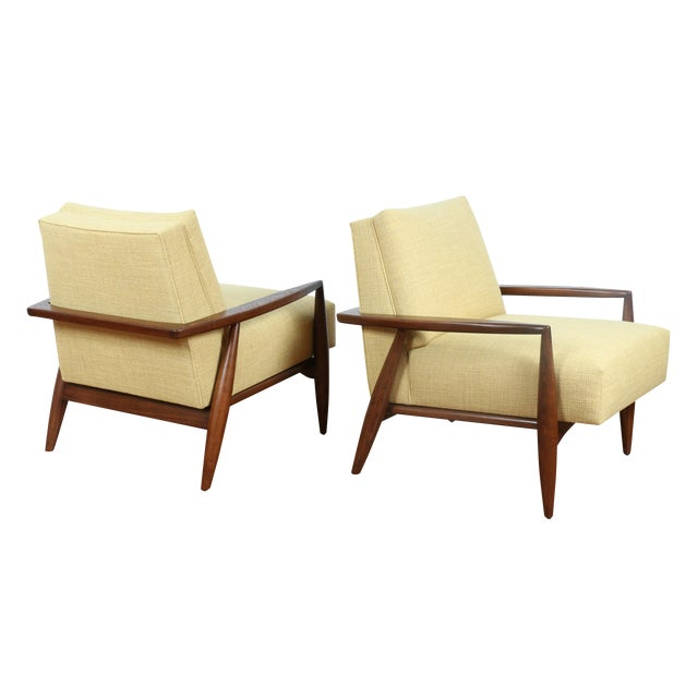Mid-Century Ecru Lounge Chairs - A Pair - Image 1 of 11