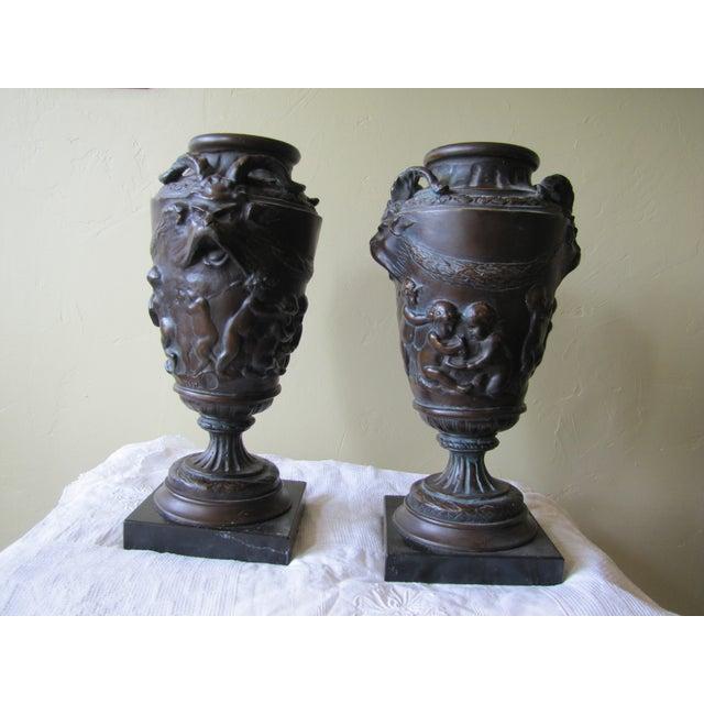 Vintage Bronze Urns - A Pair - Image 2 of 10