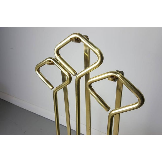 1970s Fontana Arte Style Solid Brass Fireplace Tools - Image 8 of 8